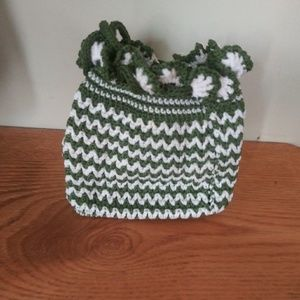 Cute green and white wristlet draw string purse